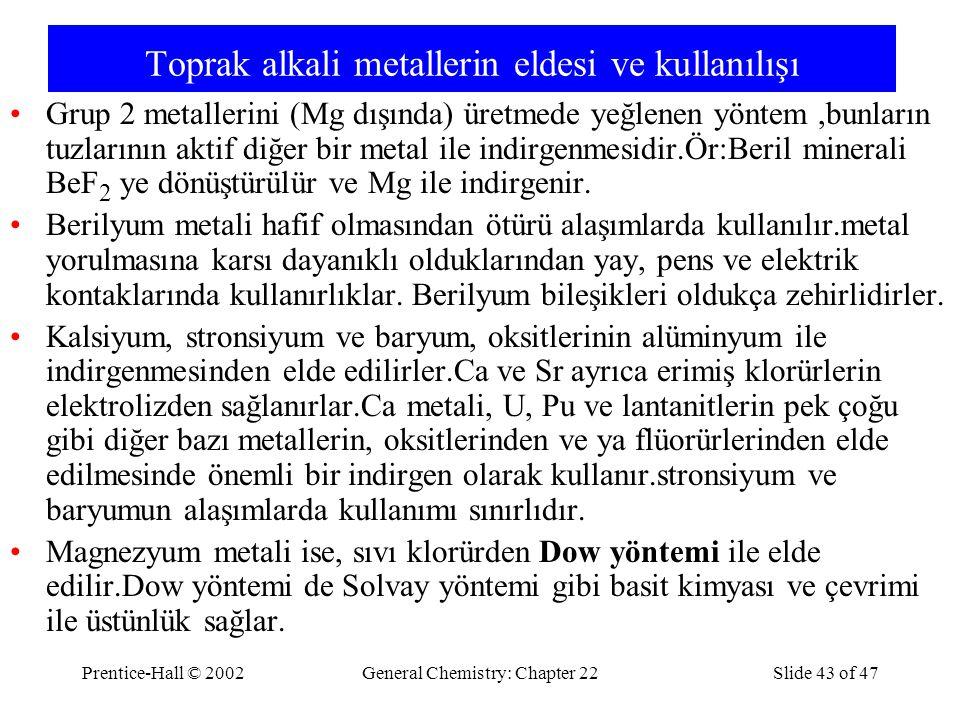 Toprak alkali metallerin eldesi ve kullanılışı