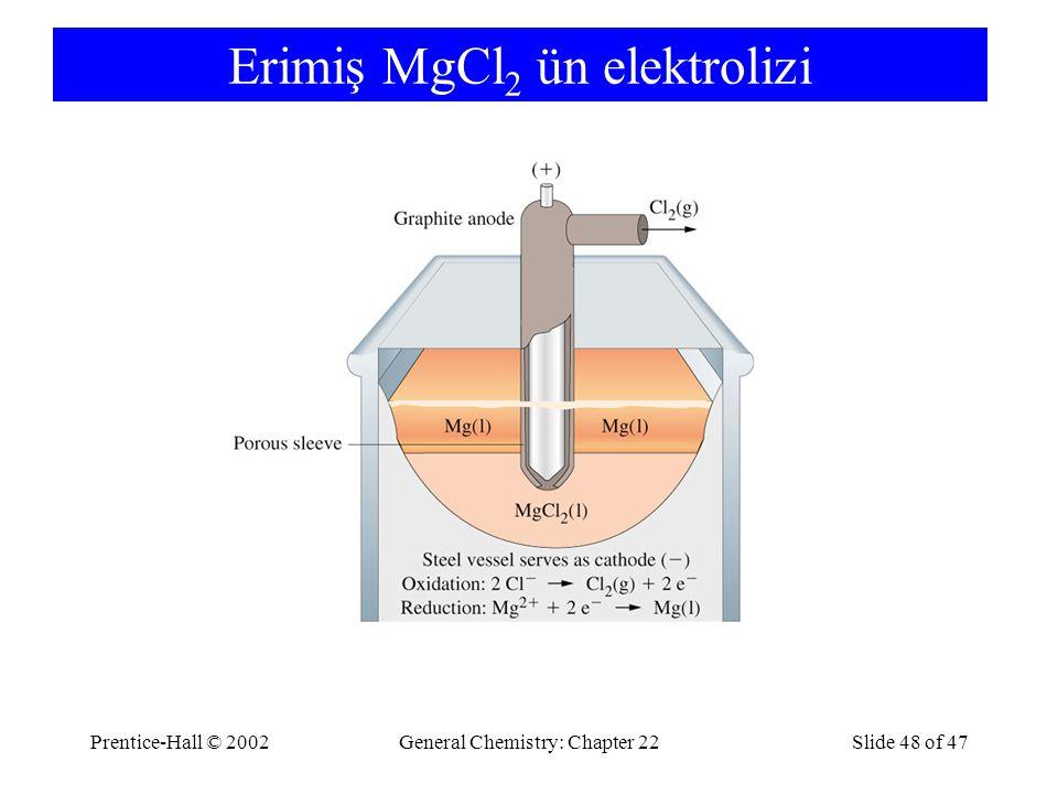 Erimiş MgCl2 ün elektrolizi