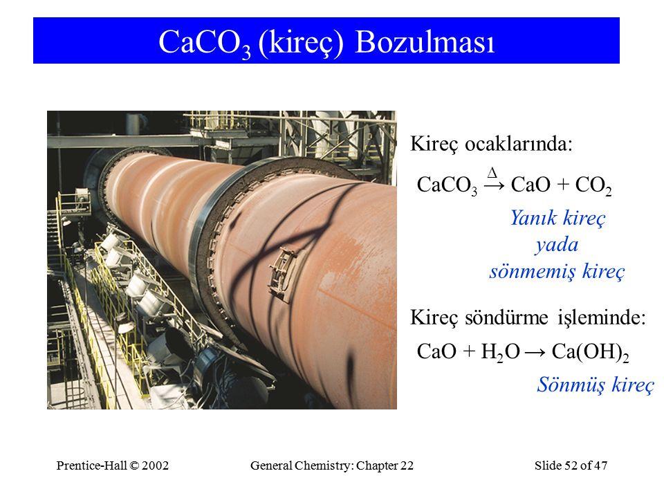 CaCO3 (kireç) Bozulması