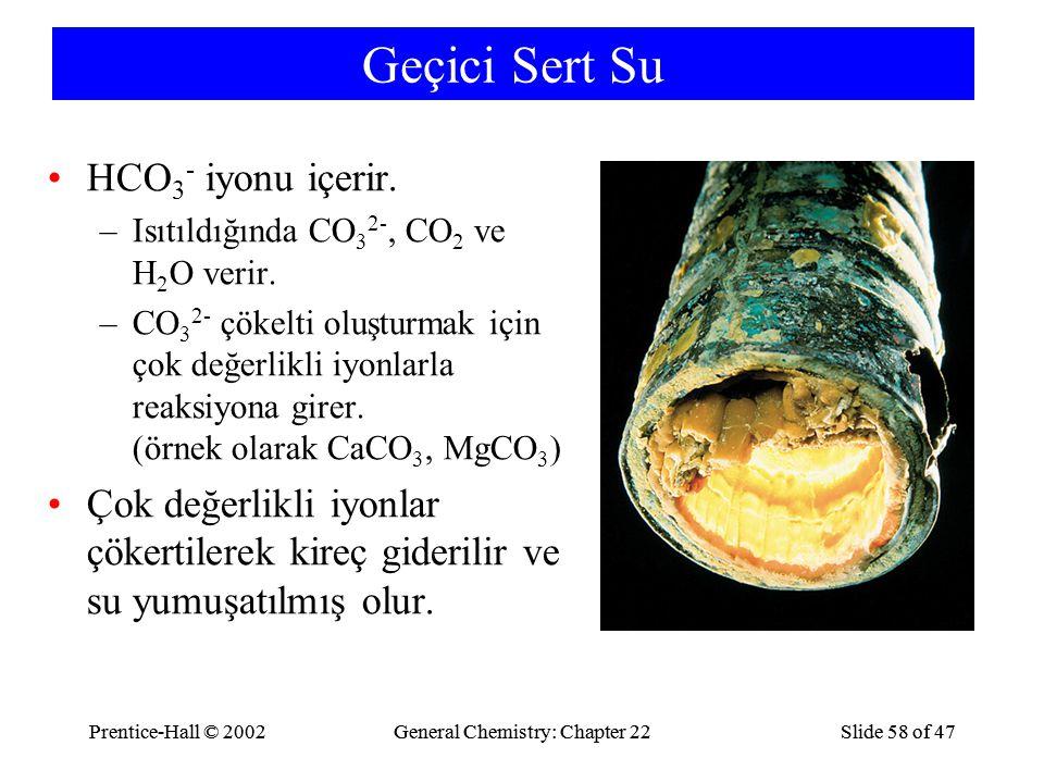 Geçici Sert Su HCO3- iyonu içerir.