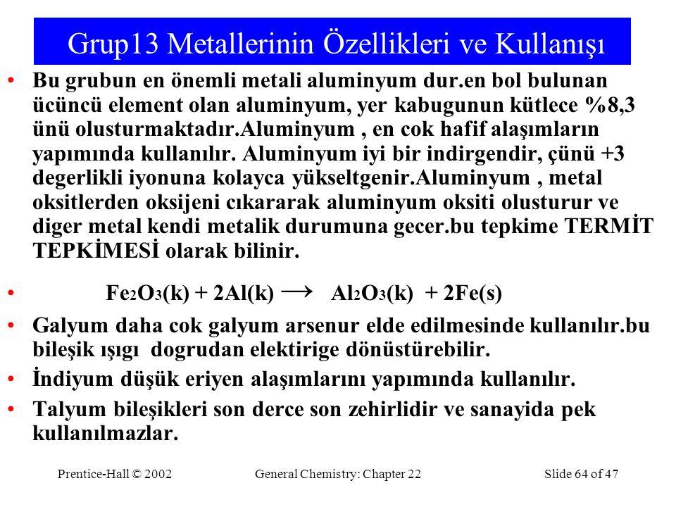 Grup13 Metallerinin Özellikleri ve Kullanışı