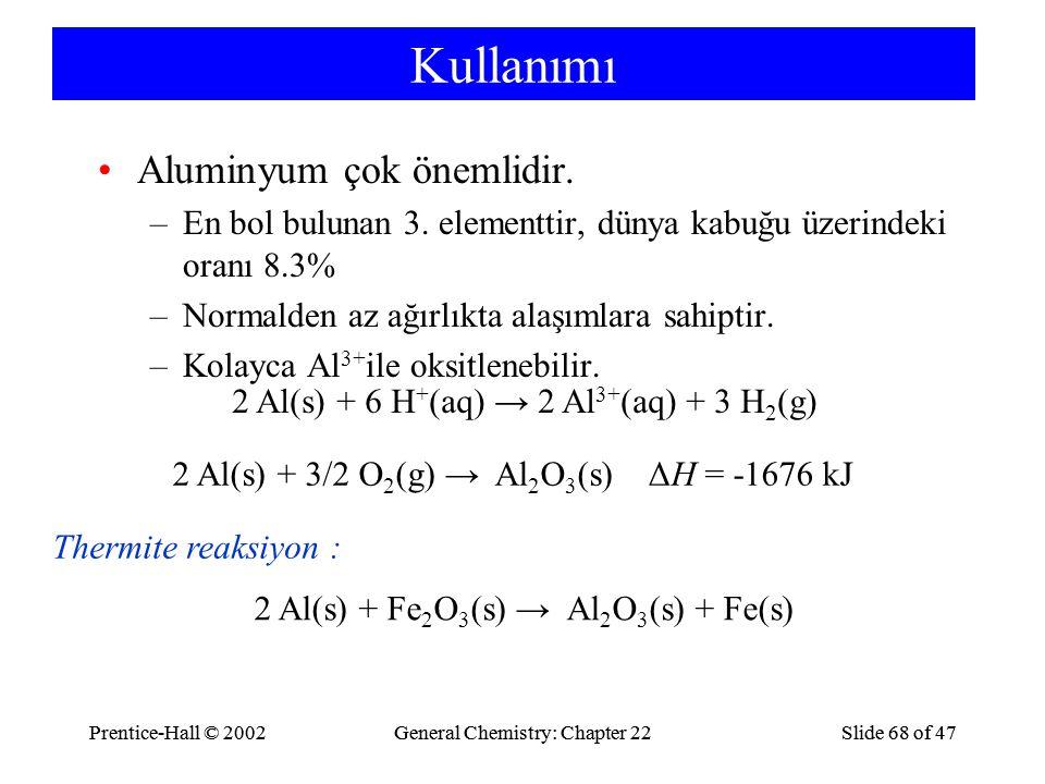 Kullanımı Aluminyum çok önemlidir.