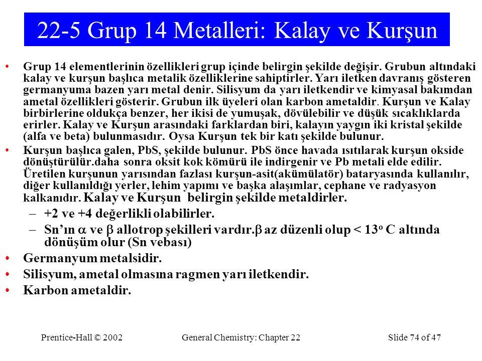 22-5 Grup 14 Metalleri: Kalay ve Kurşun
