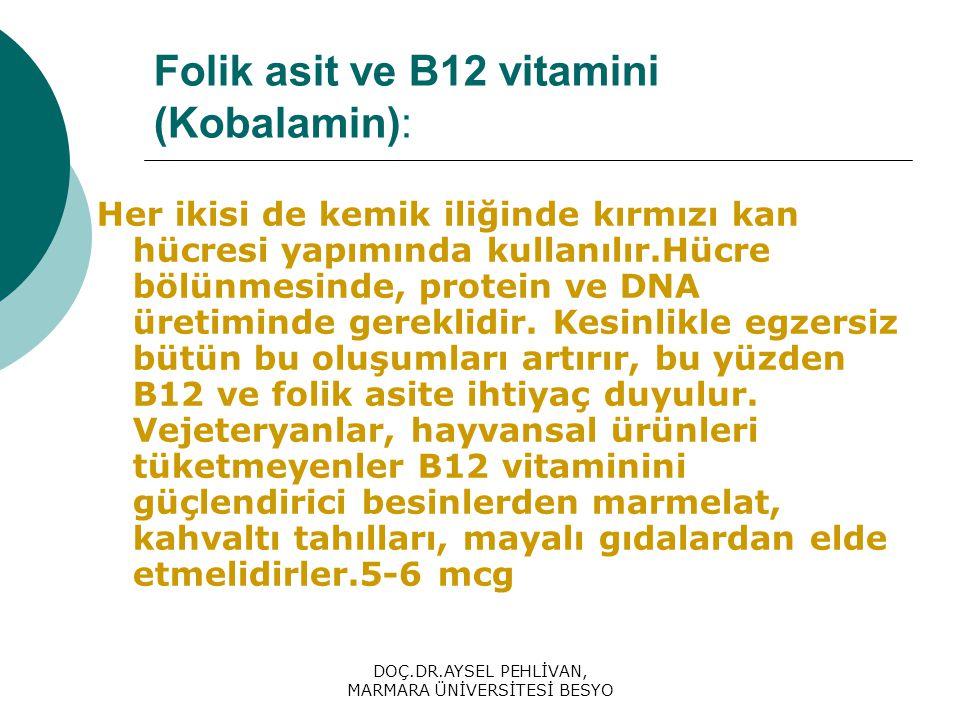 Folik asit ve B12 vitamini (Kobalamin):