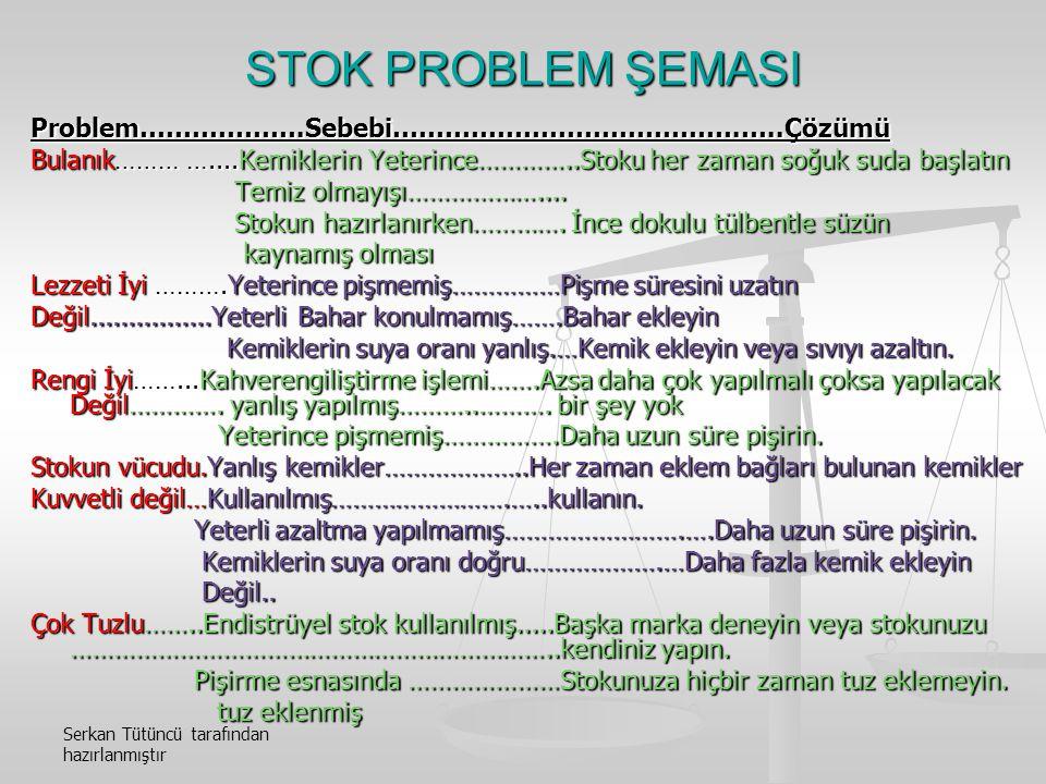 STOK PROBLEM ŞEMASI Problem……………….Sebebi………………………………….…..Çözümü