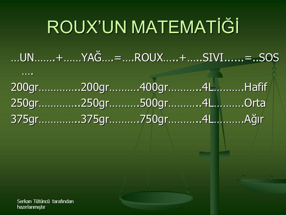 ROUX'UN MATEMATİĞİ …UN…….+……YAĞ….=….ROUX…..+…..SIVI......=..SOS….