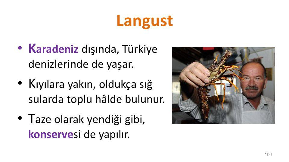 Langust Karadeniz dışında, Türkiye denizlerinde de yaşar.
