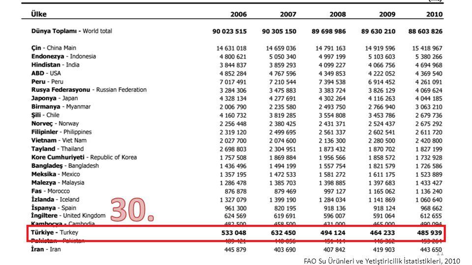 30. FAO Su Ürünleri ve Yetiştiricilik İstatistikleri, 2010