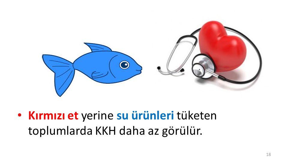 Kırmızı et yerine su ürünleri tüketen toplumlarda KKH daha az görülür.