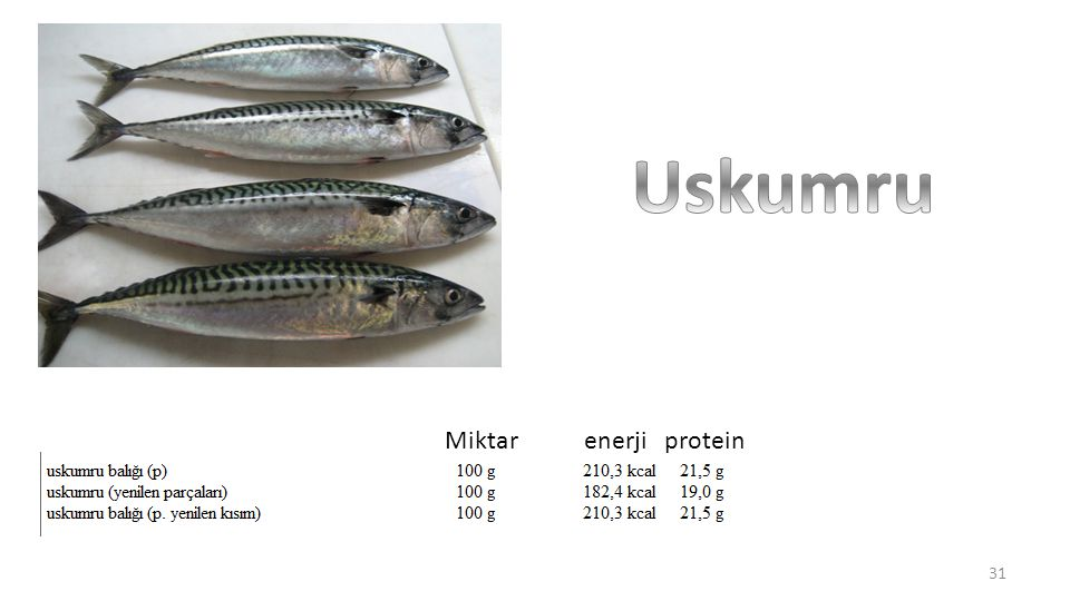 Uskumru Miktar enerji protein