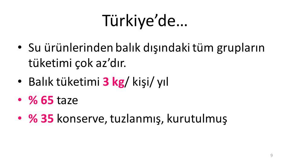 Türkiye'de… Su ürünlerinden balık dışındaki tüm grupların tüketimi çok az'dır. Balık tüketimi 3 kg/ kişi/ yıl.