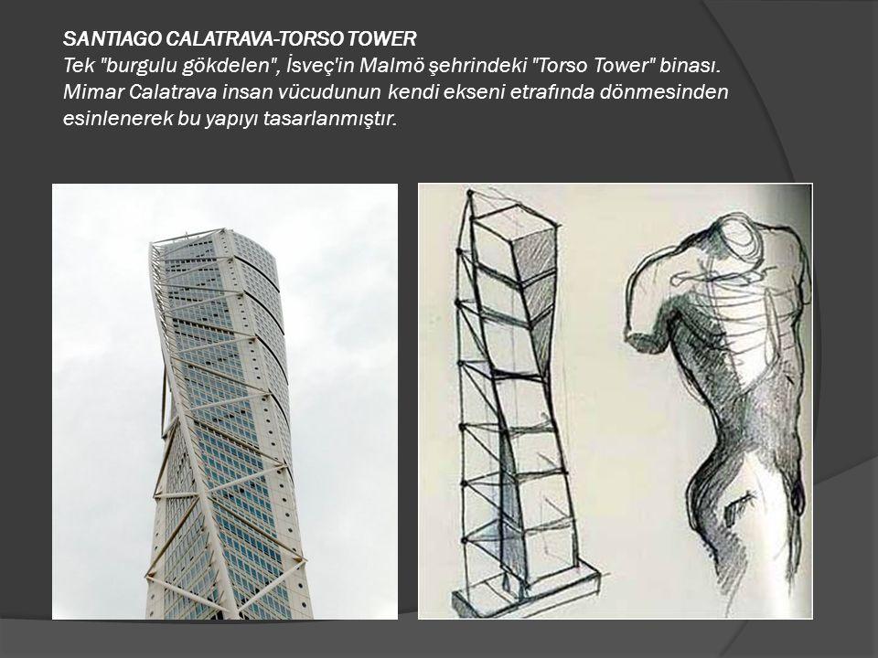 SANTIAGO CALATRAVA-TORSO TOWER Tek burgulu gökdelen , İsveç in Malmö şehrindeki Torso Tower binası.