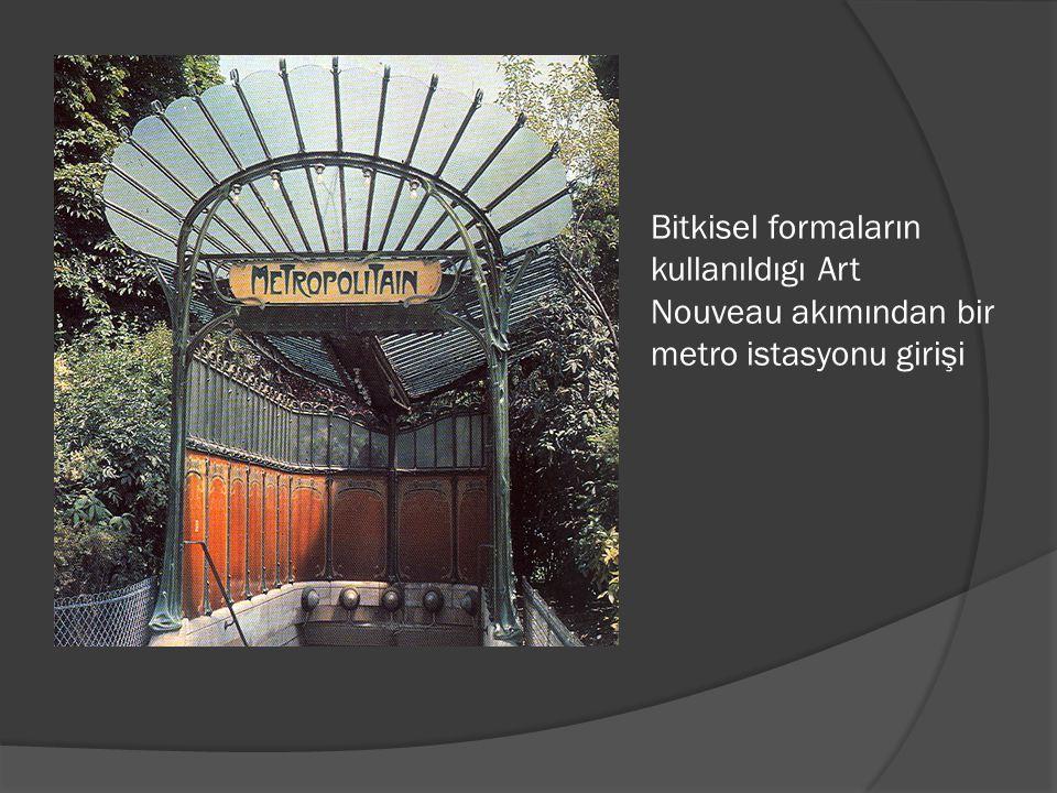 Bitkisel formaların kullanıldıgı Art Nouveau akımından bir metro istasyonu girişi