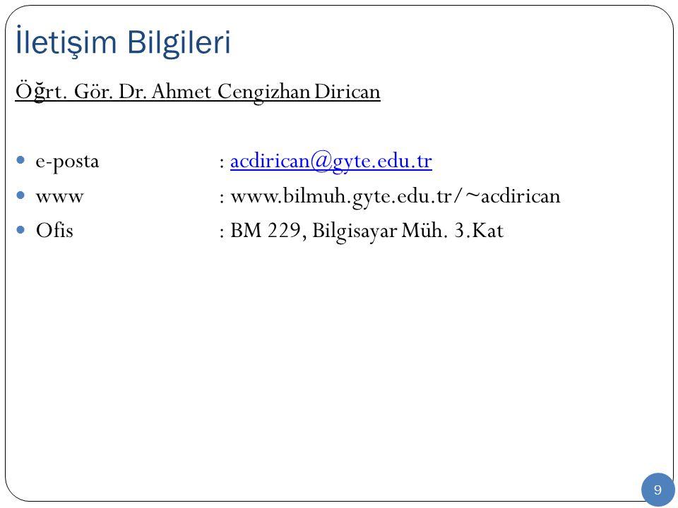 İletişim Bilgileri Öğrt. Gör. Dr. Ahmet Cengizhan Dirican
