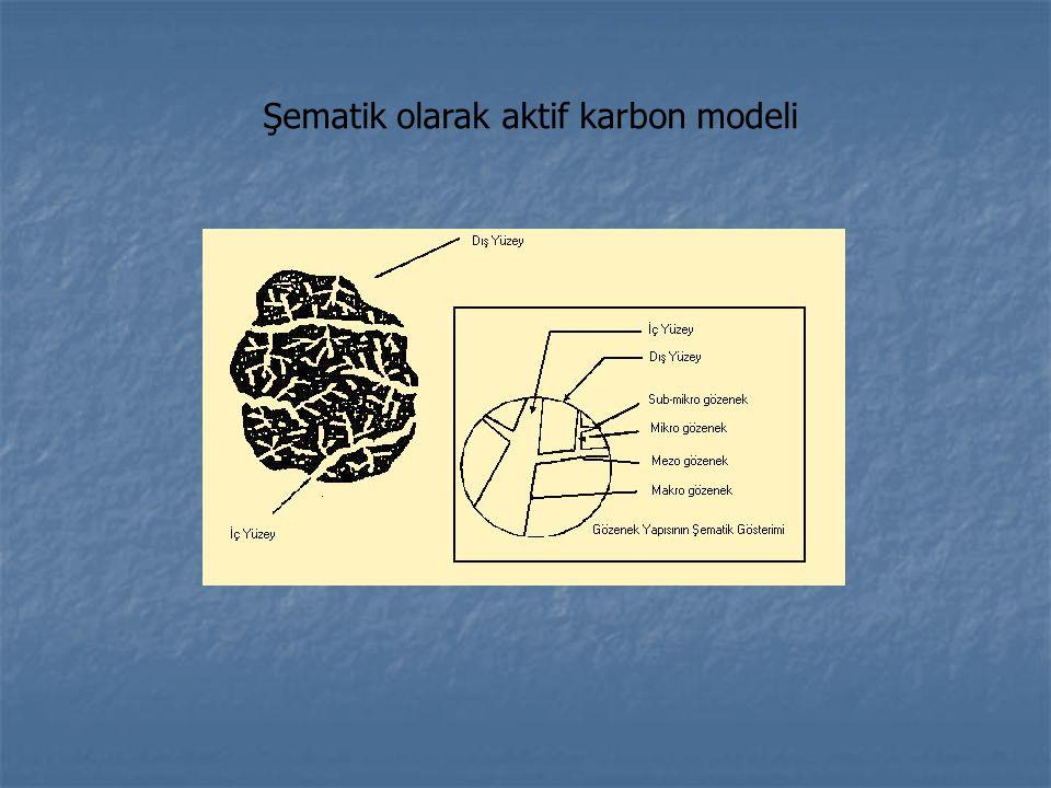 Şematik olarak aktif karbon modeli
