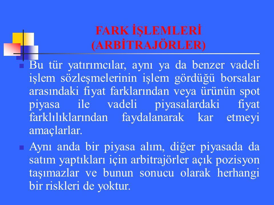 FARK İŞLEMLERİ (ARBİTRAJÖRLER)
