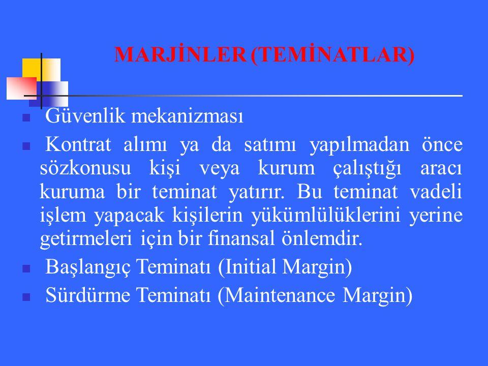 MARJİNLER (TEMİNATLAR)