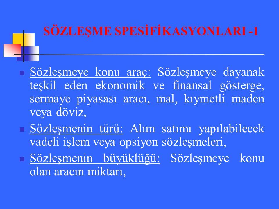 SÖZLEŞME SPESİFİKASYONLARI -1