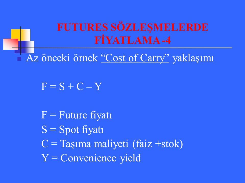 FUTURES SÖZLEŞMELERDE FİYATLAMA -4