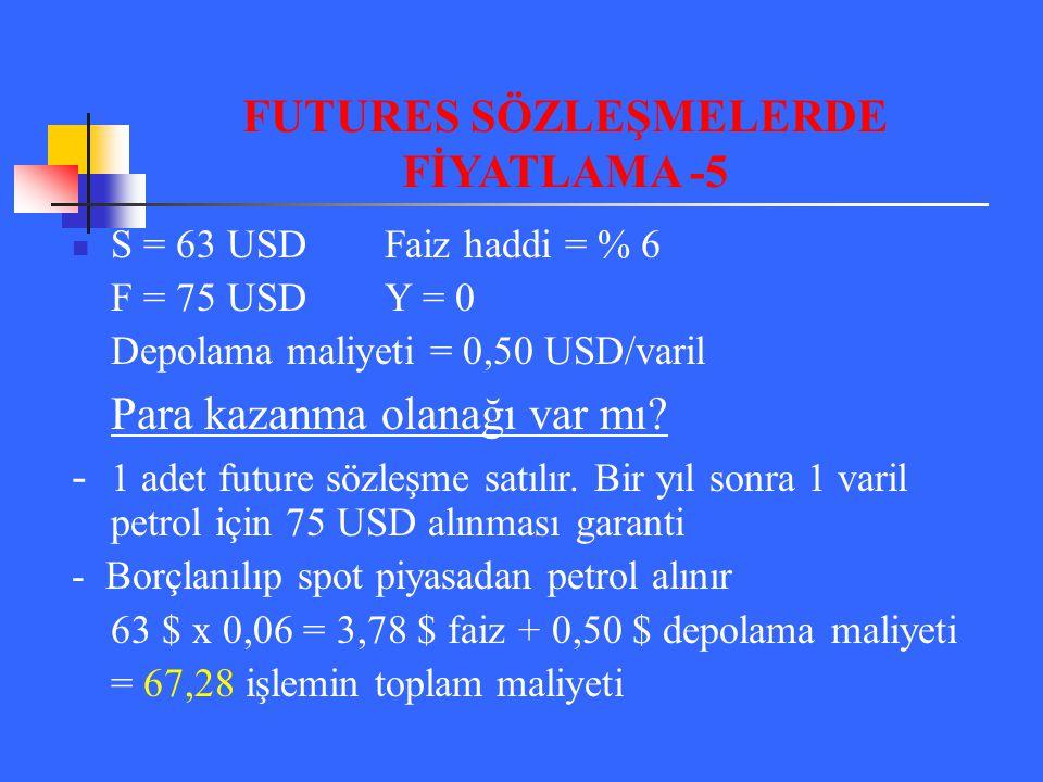 FUTURES SÖZLEŞMELERDE FİYATLAMA -5