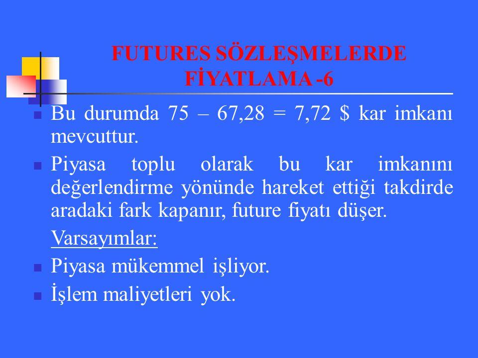 FUTURES SÖZLEŞMELERDE FİYATLAMA -6