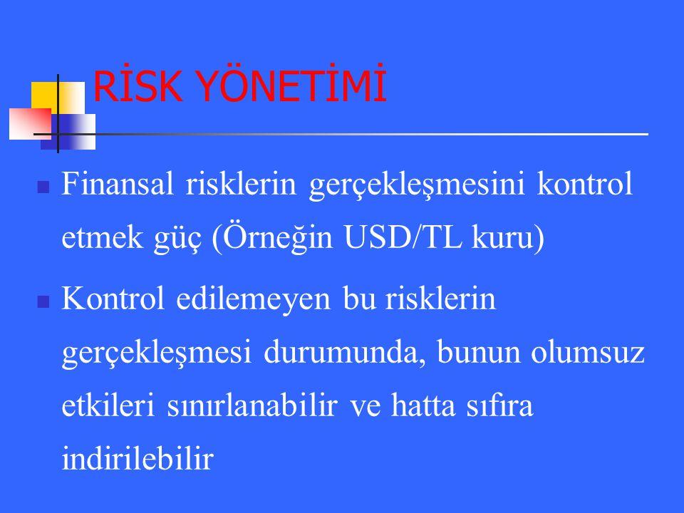 RİSK YÖNETİMİ Finansal risklerin gerçekleşmesini kontrol etmek güç (Örneğin USD/TL kuru)
