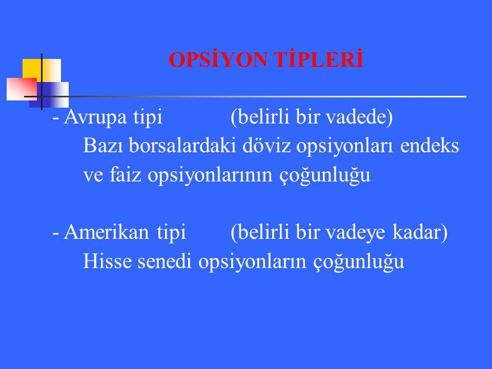 OPSİYON TİPLERİ - Avrupa tipi (belirli bir vadede) Bazı borsalardaki döviz opsiyonları endeks. ve faiz opsiyonlarının çoğunluğu.