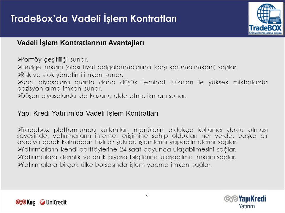 TradeBox'da Vadeli İşlem Kontratları