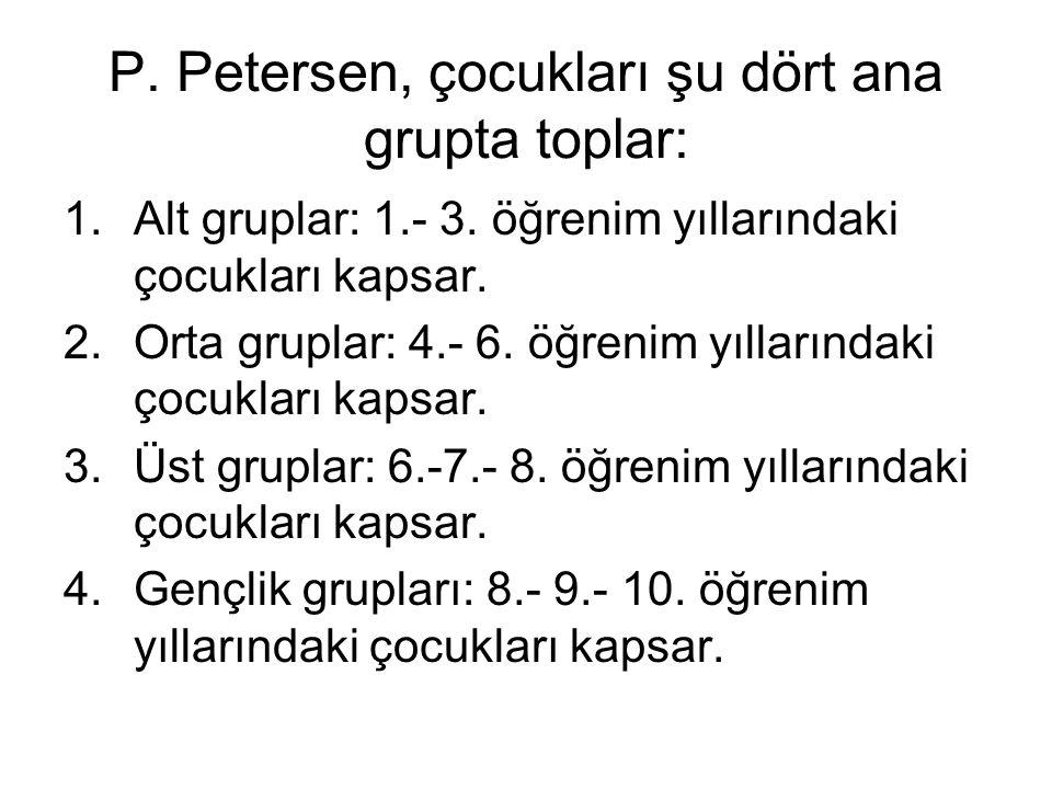P. Petersen, çocukları şu dört ana grupta toplar: