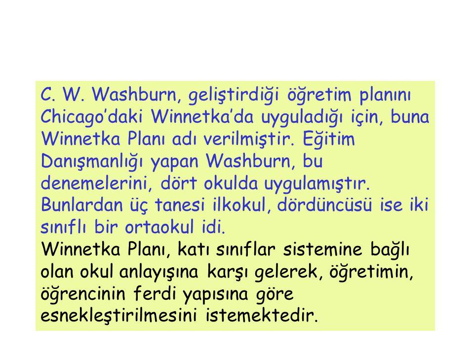 C. W. Washburn, geliştirdiği öğretim planını Chicago'daki Winnetka'da uyguladığı için, buna Winnetka Planı adı verilmiştir. Eğitim Danışmanlığı yapan Washburn, bu denemelerini, dört okulda uygulamıştır. Bunlardan üç tanesi ilkokul, dördüncüsü ise iki sınıflı bir ortaokul idi.