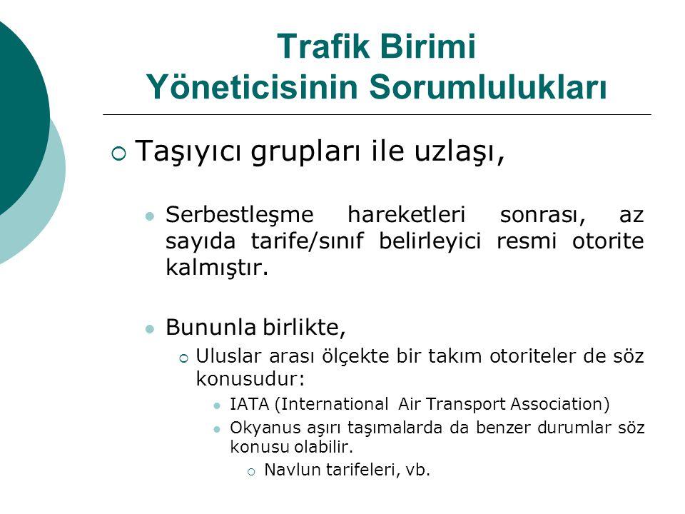 Trafik Birimi Yöneticisinin Sorumlulukları