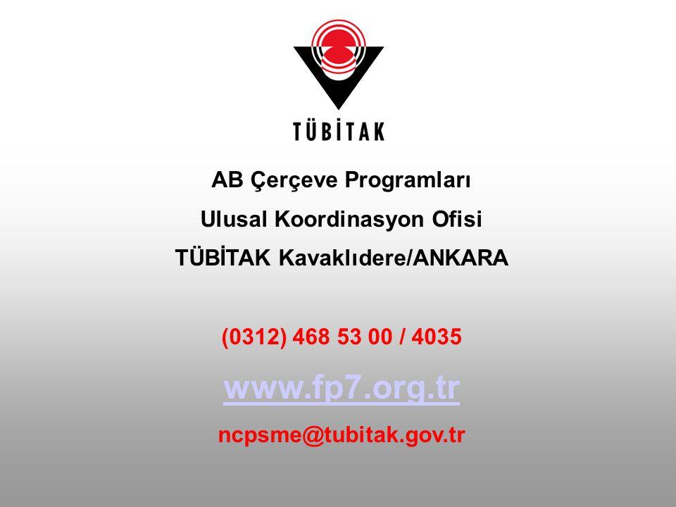 www.fp7.org.tr AB Çerçeve Programları Ulusal Koordinasyon Ofisi