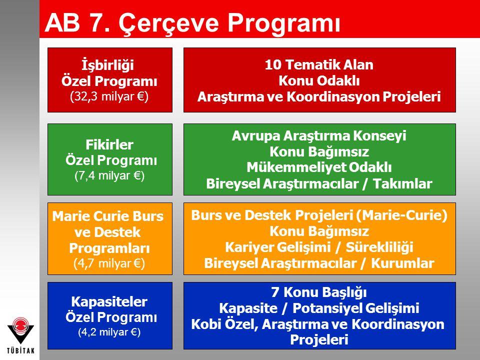 AB 7. Çerçeve Programı İşbirliği Özel Programı 10 Tematik Alan