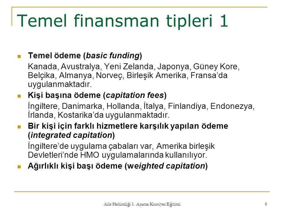 Temel finansman tipleri 1