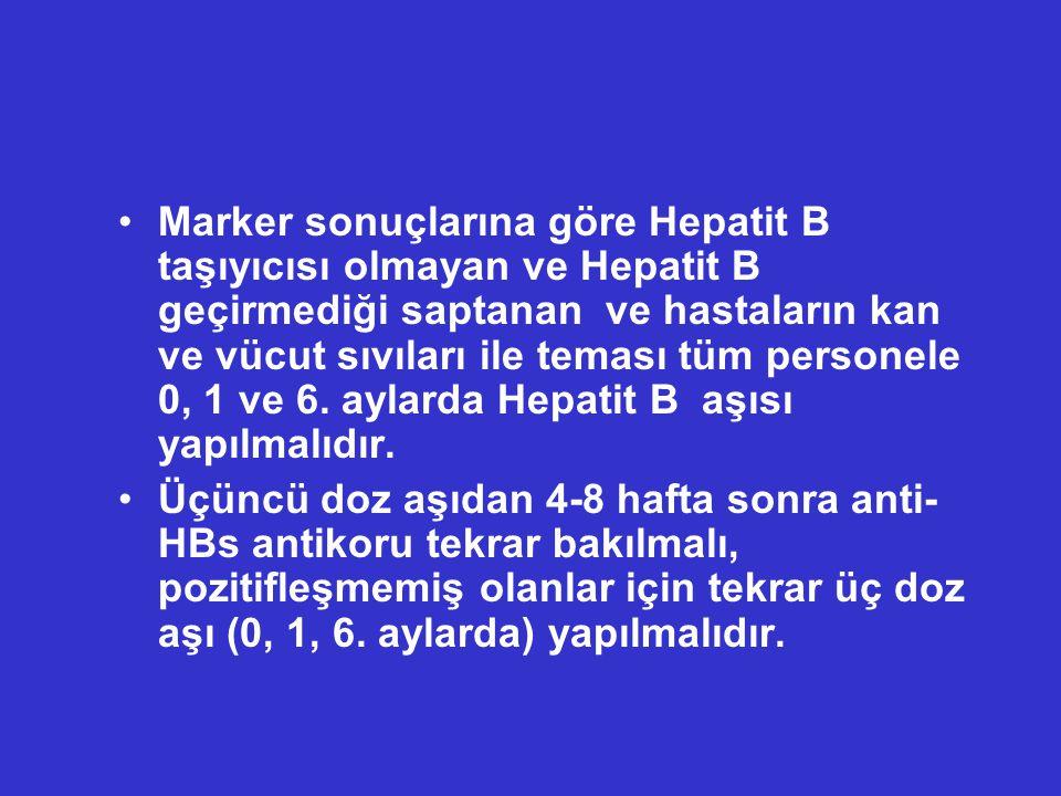 Marker sonuçlarına göre Hepatit B taşıyıcısı olmayan ve Hepatit B geçirmediği saptanan ve hastaların kan ve vücut sıvıları ile teması tüm personele 0, 1 ve 6. aylarda Hepatit B aşısı yapılmalıdır.