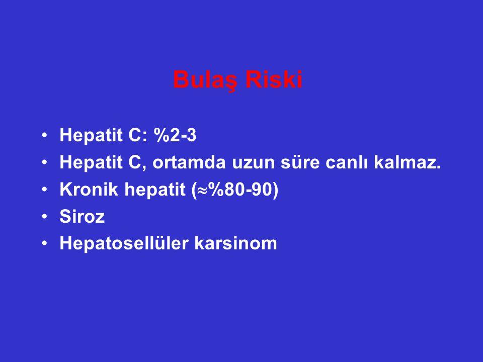 Bulaş Riski Hepatit C: %2-3 Hepatit C, ortamda uzun süre canlı kalmaz.