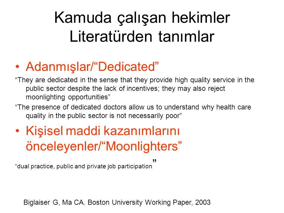 Kamuda çalışan hekimler Literatürden tanımlar