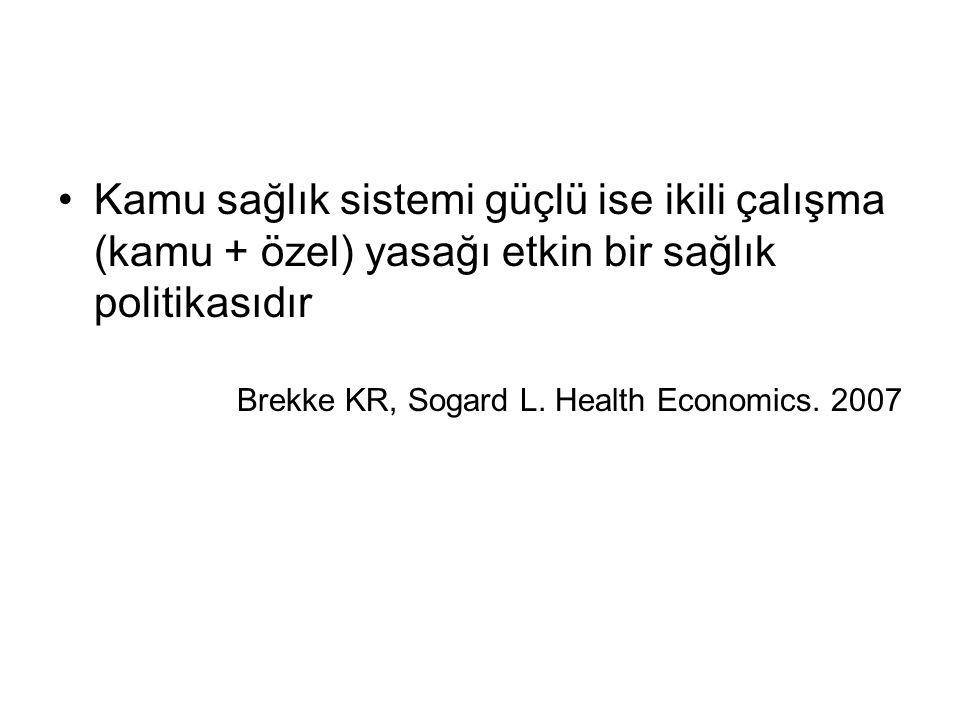Kamu sağlık sistemi güçlü ise ikili çalışma (kamu + özel) yasağı etkin bir sağlık politikasıdır