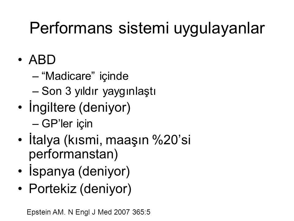 Performans sistemi uygulayanlar