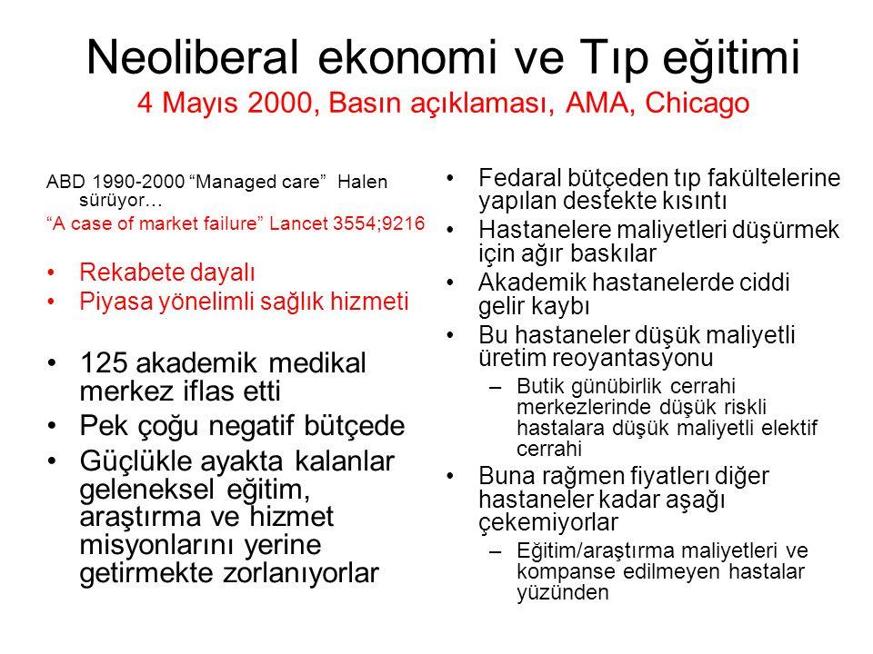 Neoliberal ekonomi ve Tıp eğitimi 4 Mayıs 2000, Basın açıklaması, AMA, Chicago