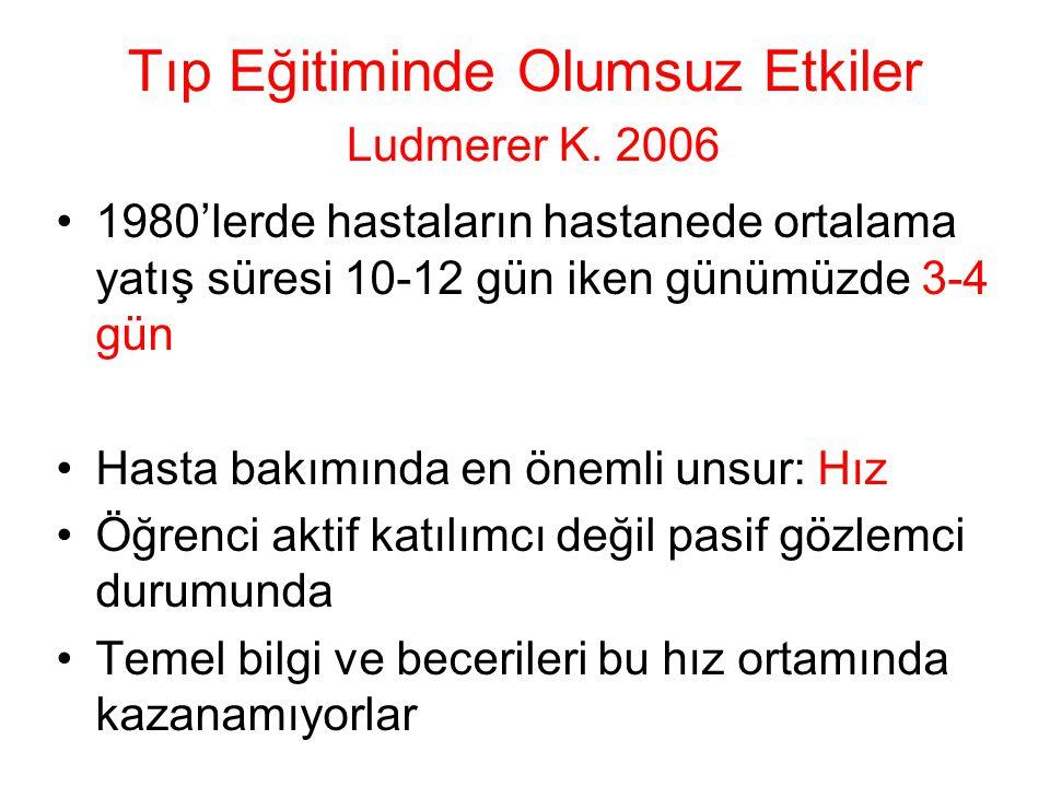 Tıp Eğitiminde Olumsuz Etkiler Ludmerer K. 2006