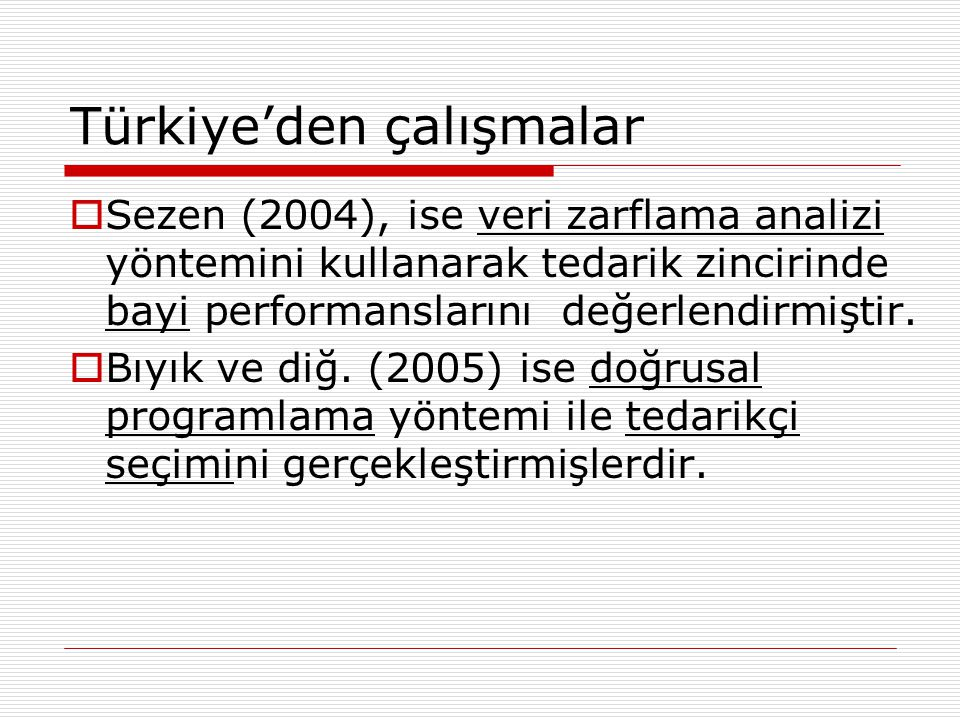 Türkiye'den çalışmalar