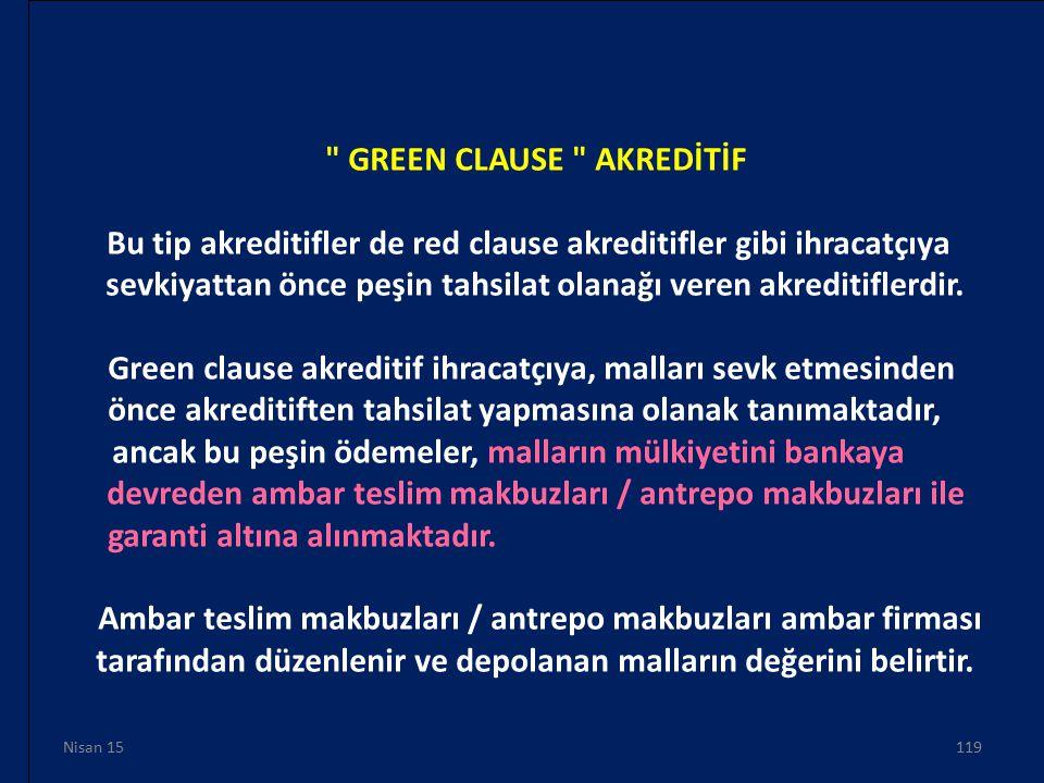 GREEN CLAUSE AKREDİTİF