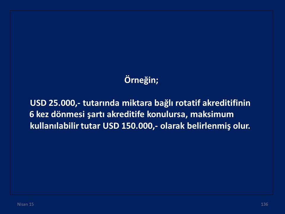 USD 25.000,- tutarında miktara bağlı rotatif akreditifinin
