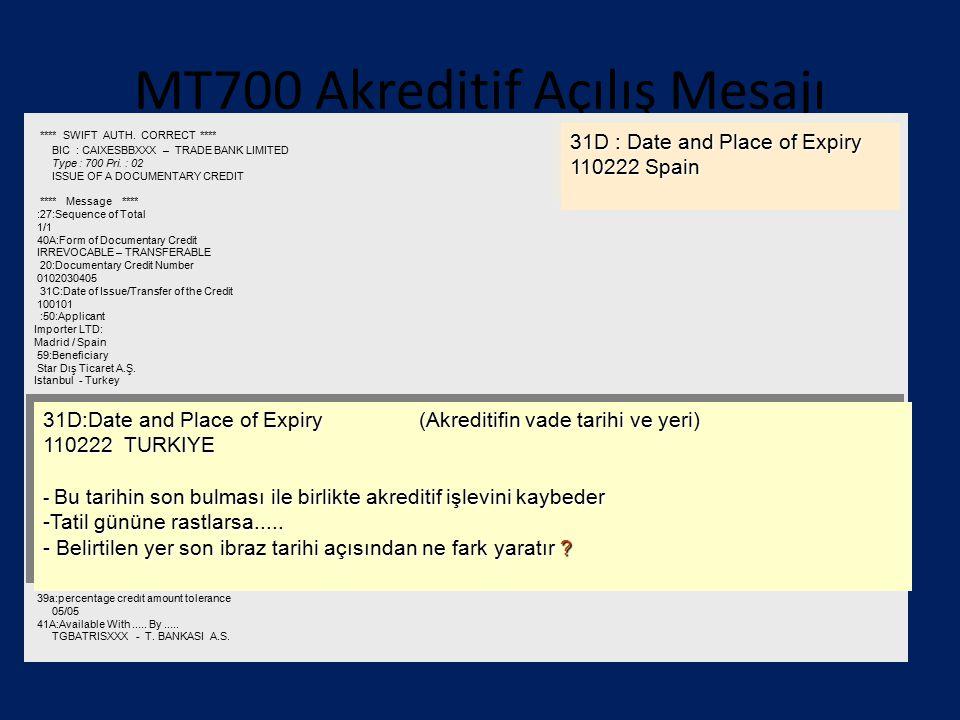 MT700 Akreditif Açılış Mesajı