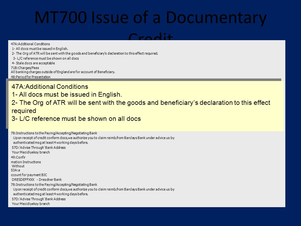 MT700 Issue of a Documentary Credit