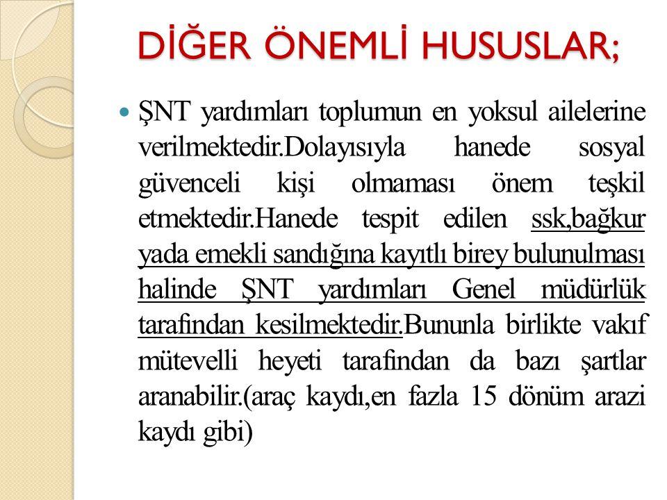 DİĞER ÖNEMLİ HUSUSLAR;