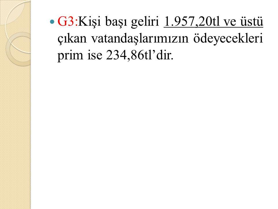 G3:Kişi başı geliri 1.957,20tl ve üstü çıkan vatandaşlarımızın ödeyecekleri prim ise 234,86tl'dir.