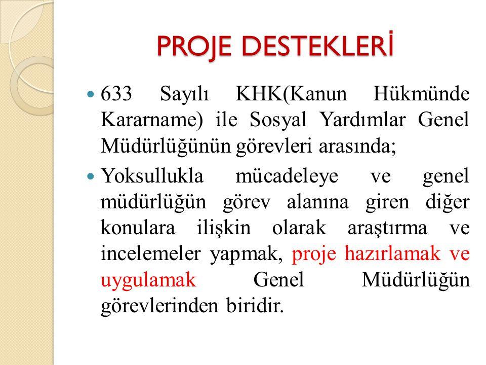 PROJE DESTEKLERİ 633 Sayılı KHK(Kanun Hükmünde Kararname) ile Sosyal Yardımlar Genel Müdürlüğünün görevleri arasında;