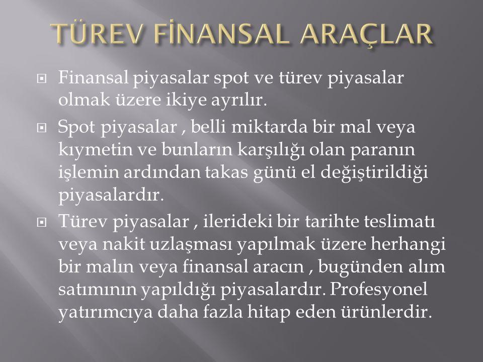 TÜREV FİNANSAL ARAÇLAR